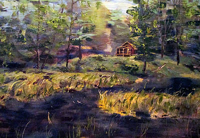 Camp At Efner Lake Brook Art Print by Denny Morreale