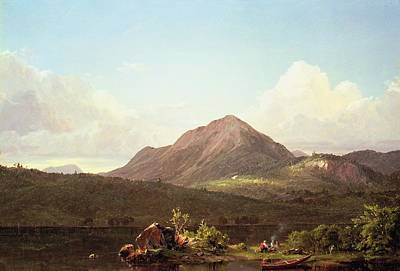 Mountain Painting - Camp Fire In The Maine Wilderness by Frederic Edwin Church