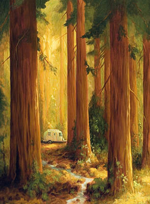 Redwoods Painting - Camp by Jane Kiskaddon