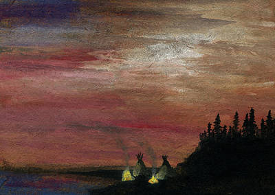 Ancestral Pole Painting - Camp Of The Two Fires by R Kyllo
