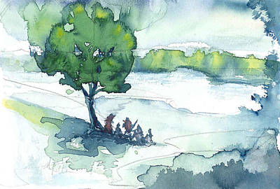 Camp On The Lake Art Print by Don  Vella