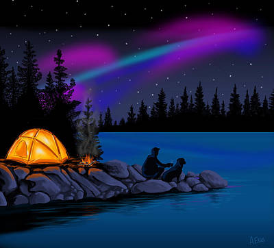 Labrador Digital Art - Camping With Dog by Andrew Ellis
