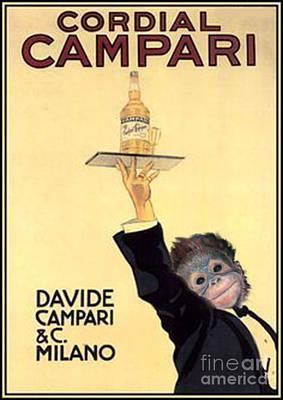 Chimpanzee Mixed Media - Campari by Brenda Gordon