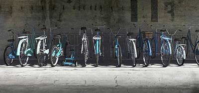 Customized Digital Art - Campbell Blue Bike Rack by Cynthia Decker