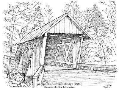 Architecture Drawing - Campbell's Covered Bridge by Greg Joens