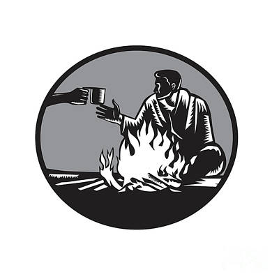 Camper Campfire Cup Of Coffee Circle Woodcut Art Print