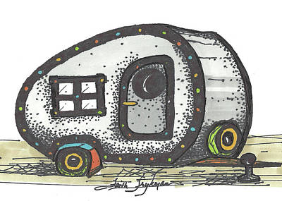 Camper, Gray Art Print by Faith Frykman