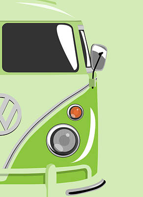 Vw Camper Van Digital Art - Camper Green 2 by Michael Tompsett