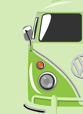 Vw Camper Van Digital Art - Camper Green by Michael Tompsett