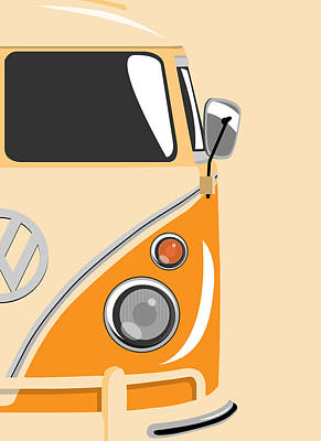 Sixties Digital Art - Camper Orange 2 by Michael Tompsett