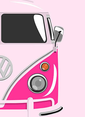Vw Camper Van Digital Art - Camper Pink 2 by Michael Tompsett