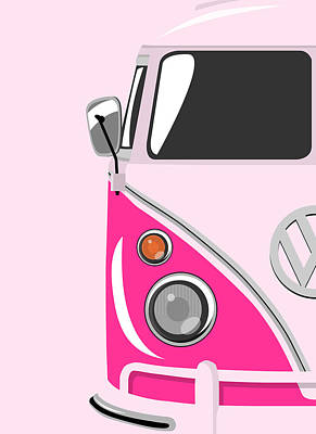 Vw Camper Van Digital Art - Camper Pink by Michael Tompsett