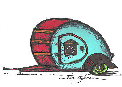 Camper, Red And Aqua Art Print by Faith Frykman