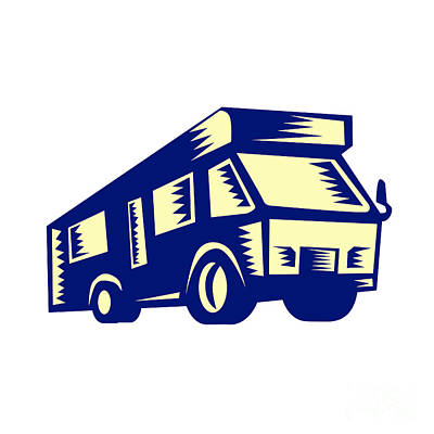 Camper Van Motor Home Woodcut Art Print