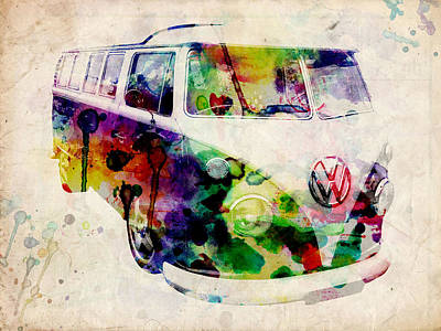 Psychedelic Digital Art - Camper Van Urban Art by Michael Tompsett