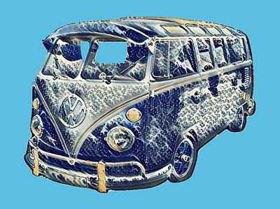 Photograph - Camper Van Waves by John Colley