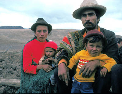 Campesino Family In Columbia Art Print by Carl Purcell