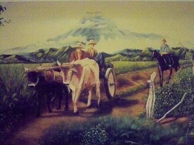 Campesinos Painting - Campesinos De Chaparastique by Ricardo Santos-alfonso