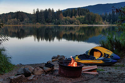 Photograph - Campfire By The Lake by Keith Boone