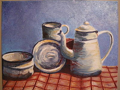 Checked Tablecloths Painting - Campfire Coffee by Cindy Hall
