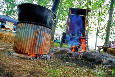 Photograph - Campfire Cook Fire And Covered Wagon by David Arment