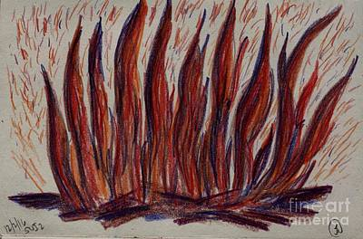 Drawing - Campfire Flames by Theresa Willingham