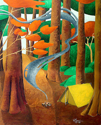 Painting - Camping - Through The Forest Series by Richard Hoedl