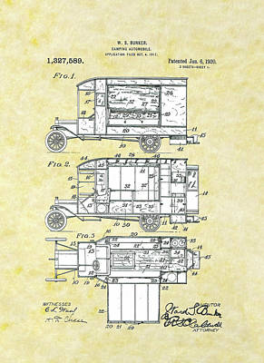 Drawing - Camping Automobile Patent by Movie Poster Prints