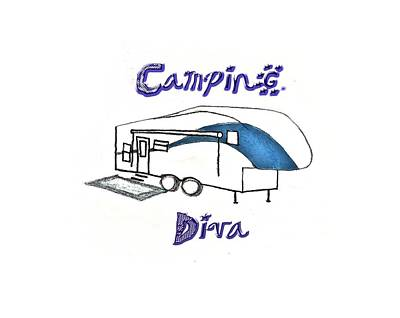 Drawing - Camping Diva by Judy Hall-Folde