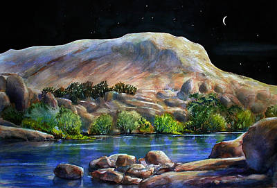 Painting - Camping In The Moonlight by John Mabry