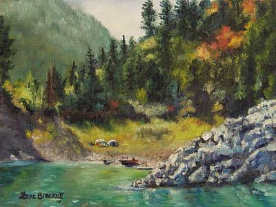 Camping On The Lake Shore Art Print