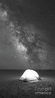 Camping Under The Galaxy Bw Art Print