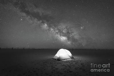Camping Under The Milky Way Galaxy Bw Art Print