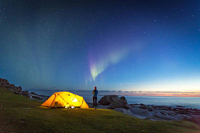 Camping Under The Northern Lights Art Print