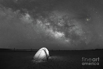 Camping Under The Stars Bw Art Print
