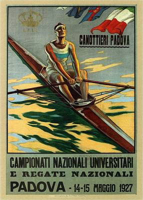 Royalty-Free and Rights-Managed Images - Campionati Nazionali Universitari 1927 - Padova, Italy - Retro travel Poster - Vintage Poster by Studio Grafiikka