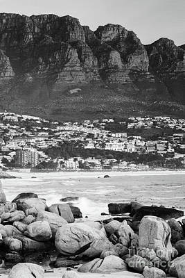 Camps Bay At Sunset Black And White Art Print