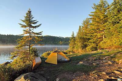 Campsite On Alder Lake Art Print by Larry Ricker
