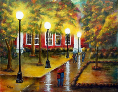 Painting - Campus Rain by Chris Fraser