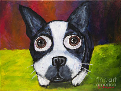 Boston Terrier Painting - Can I Have A Toy? by Eric Chegwin