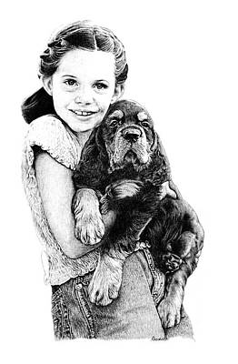 Girl And Dog Drawing - Can We Keep Him by Carole Raschella