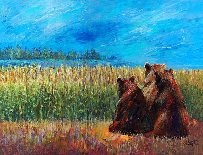 Brown Bear Painting - Can You See Whats Going On... by Arline Wagner
