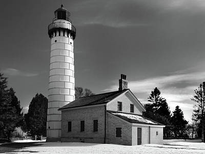 Photograph - Cana Island Lighthouse Black And White by David T Wilkinson