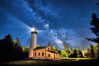 Cana Island Lighthouse Milky Way In Door County Wisconsin Art Print