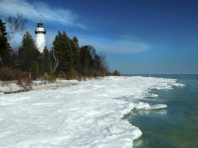 Photograph - Cana Island Lighthouse Winter View by David T Wilkinson