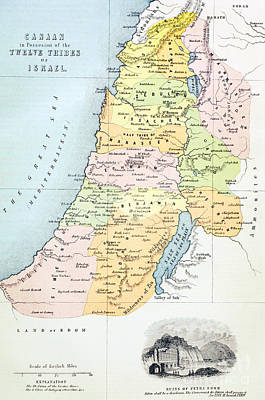 Holy Land Drawing - Canaan As It Was Divided Between The Twelve Tribes Of Israel by English School