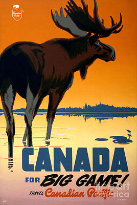 Canada Big Game Vintage Travel Poster Restored Art Print