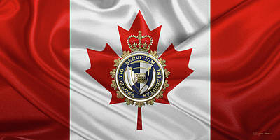 Digital Art - Canada Border Services Agency -  C. B. S. A. Badge Over Canadian Flag Canadian Flag No.2 by Serge Averbukh