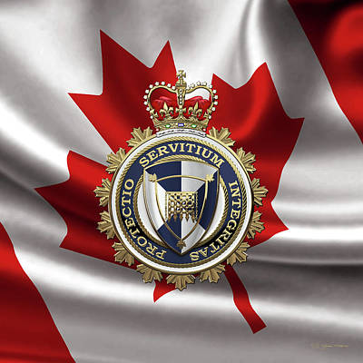 Digital Art - Canada Border Services Agency -  C. B. S. A. Badge Over Canadian Flag by Serge Averbukh