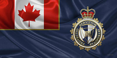 Digital Art - Canada Border Services Agency -  C. B. S. A. Badge Over Flag by Serge Averbukh